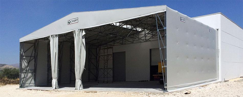 capannoni mobili frontali con tende scorrevoli